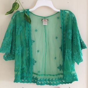 Flying Tomato Green Lace Sheer Cardigan Floral